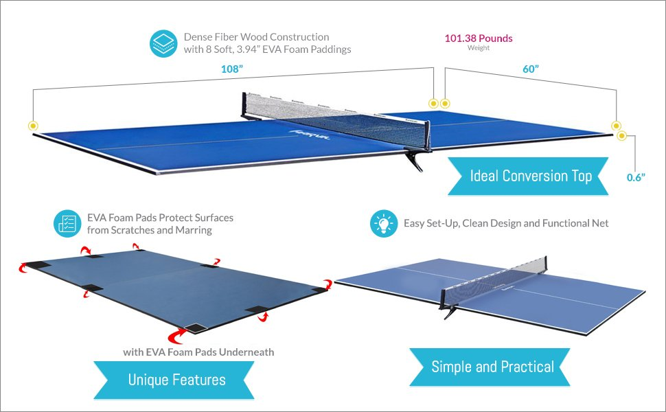 Ping pong table top the 5 best table tennis conversion - Full size table tennis table dimensions ...